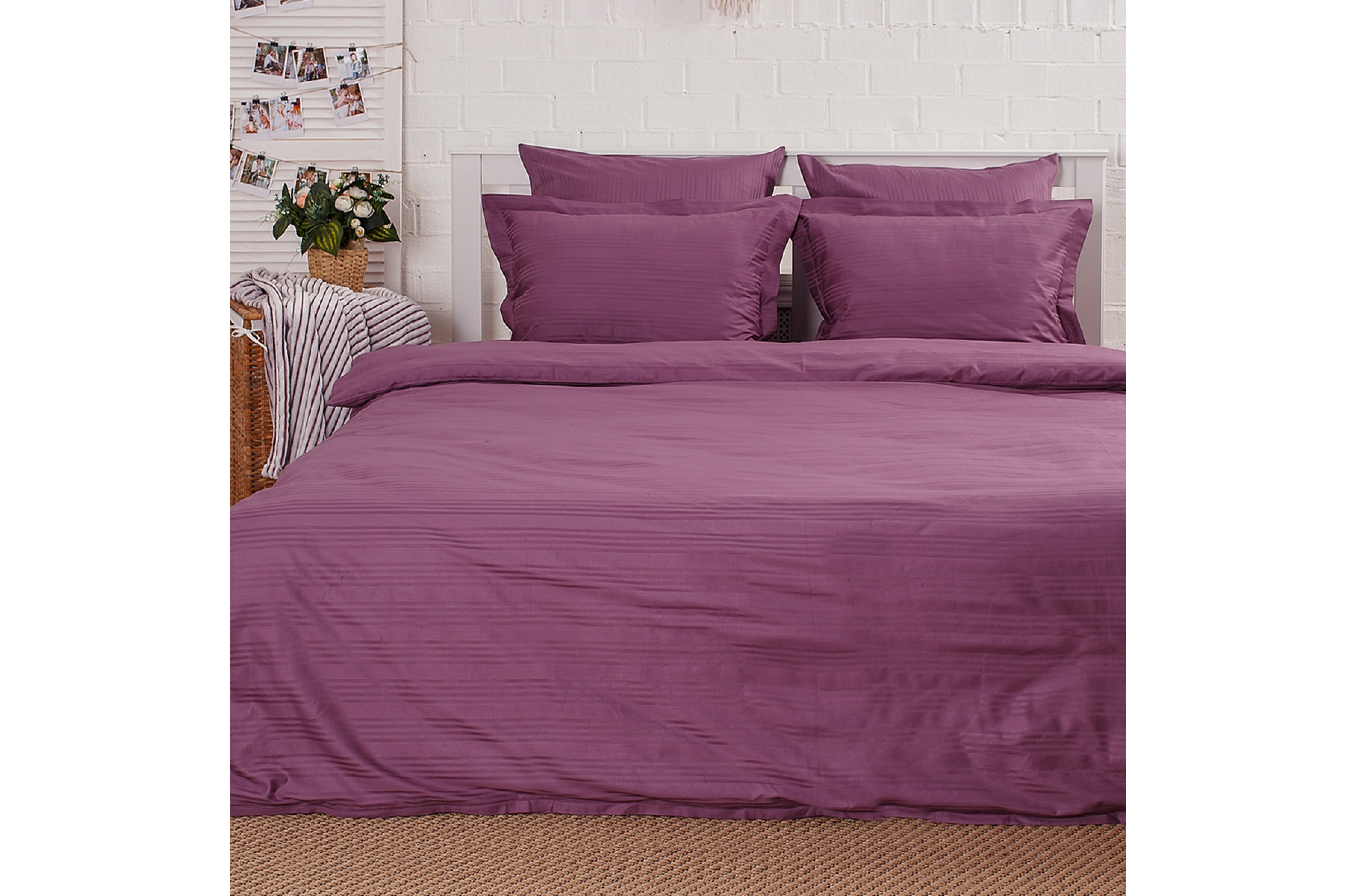 Постельное бельё Страйп-сатин   Пурпурный
